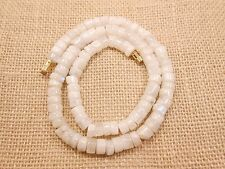 "17"" Natural Rainbow Moonstone Flat Heishi Coin Smooth Beads Necklace,7MM-8MM."