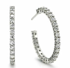 1.05 Ct Untreated Diamond Hoops Earrings 14K Solid White Gold