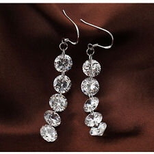 Womens NEW Fashion Round Crystal Silver Plated Long Drop Dangle Earrings Jewelry