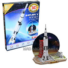 SATURN V ROCKET & LAUNCH PAD 3D Puzzle Construction Kit Science Planets Space