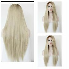 Women Dark Root Long Straight Blonde Wig Full Synthetic Hair Cosplay Anime Wigs