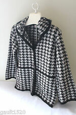 NWT A. IDA Italian Designer Black White Cozy Wool Houndstooth Gorgeous Sweater S