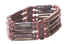 Tribal Territory-brown Wooden & Red Beads/one Size Fits All Hand Bracelet(Zx201)