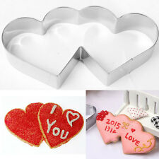 Stainless Double Heart Cookie Cutter Cake Pastry Biscuit Mold Decoration Tool