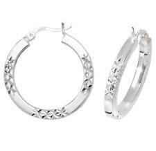 925 Sterling Silver Ladies Earrings Diamond Cut Tube Hoops Creole 20MM 3.7gr