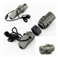 Popular 7 in 1 Military Emergency Whistle Survival Kit Compass LED Light