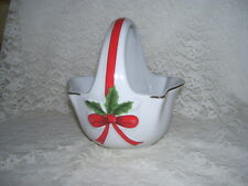 WHITE PORCELAIN HOLLY AND BERRY BASKET W/ RED TRIM