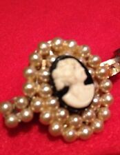Set of 2 Vintage Scarf Pins, Cameo with pearls on metal back