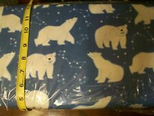 B81 Polar Bear Constellations on blue Flannel Material New Sold ¼ yards