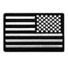 """USA FLAG US REVERSED EMBROIDERED PATCH SUBDUED BLACK-WHITE IRON-ON SIZE 4""""x2.5"""