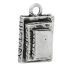 3 LARGE ANTIQUE SILVER 3D BOOK CHARMS/PENDANT 20x12mm Math~Science~History (98G)