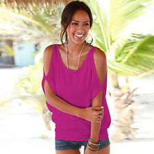 Sexy Womens Summer Off Shoulder T-Shirt Ladies Loose Casual Tops Blouse UK 6-16
