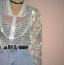 Holographic Iridescent Organza Sheer Rainbow Trim Jacket 6-16 Halloween Mermaid