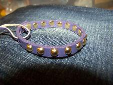 Linea Pelle Purple Leather Goldtone Skinny Dome Stud Bracelet NWT