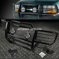 BLACK BRUSH GRILLE GUARD+ROUND CLEAR FOG LIGHT FOR 98-04 S10 BLAZER/S15 SONOMA