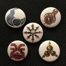 "Warhammer 40k Fantasy - Chaos Khorne Nurgle Slaanesh Tzeentch 1"" pin button set"