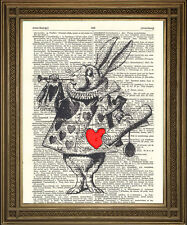 VINTAGE DICTIONARY PRINT: White Rabbit Herald Alice in Wonderland Art Page 10x8""