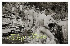 VINTAGE 1940's PHOTO NUDE SOLDIERS SHOW NAKED BODIES DURING SWIM GAY INTEREST 99