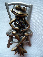 """Vintage Signed JJ  """"Silver/Bronze pewter Frog on Chair"""" Brooch/Pin"""