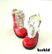 "BJD Yo-SD 1/6 Dollfie 13"" Effner 12"" Kish Doll Shoes RED Boot Pearl Lolita"