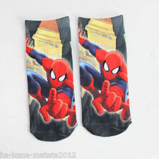 SPIDERMAN Cartoon Trainer SOCKS; UK 3-7, 1pr 3D Digital Photo, UK Seller Cotton