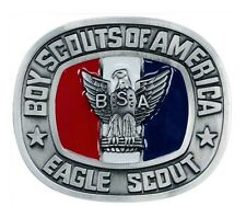 BOY SCOUTS OF AMERICA EAGLE SCOUT RANK SILVER RED WHITE & BLUE BELT BUCKLE BSA