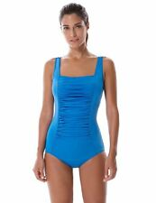 SYROKAN Women's Pleated Endurance Athletic Training One Piece Swimsuit 34""