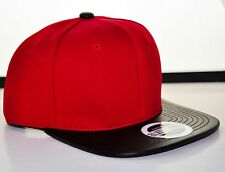 BRAND NEW RED SNAPBACK WITH BLACK LEATHER FLAT BILL HAT CAP ADJUSTABLE BLVCK