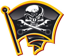"""Pirate Flag Skull With Wrenches Car Bumper Sticker Decal 5"""" x 5"""""""