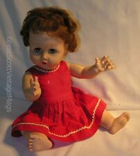 "1950s 17"" Uneeda? Baby Dollikin Doll Red Dress Drink Wet Sleep Eyes Rooted Hair"