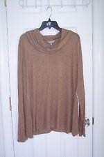 NEW Womens Crochet XL Brown Long Sleeve Blouse Top