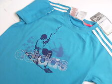BOYS ADIDAS SHORT SLEEVE T-SHIRT TOP SIZE 30/32 11/12 YRS 152 cm  (A-107)