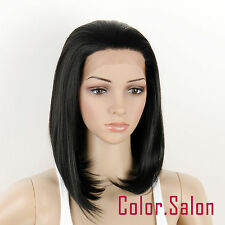 HAND TIED Synthetic LACE FRONT FULL WIGS Heat Safe GLUELESS BOB Off Black 93#1B