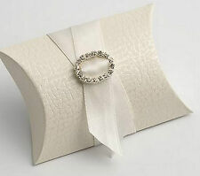 100 ANTIQUE WHITE PELLE BUSTINA/PILLOW FAVOUR FAVOR BOXES GIFT BOX