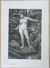 Antique Lithograph Albert W Barker RARE Nude WOOD NYMPH Brandywine Listed Artist