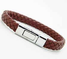 Men Women's Braided PU Leather Bracelet Brass Clasp Brown
