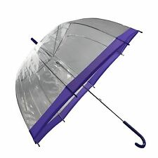 "Large 31"" Clear  Dome Umbrella Ladies Transparent Walking Rain Brolly"