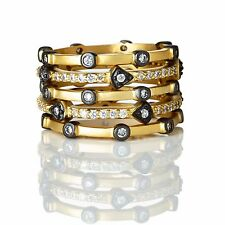 Freida Rothman 14kt Gold/Black Rhodium Plated Sterling Silver Stackable CZ Rings