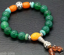 10mm Natural Green Agate Gems Buddha Tibet Buddhist Prayer Beads Mala Bracelet