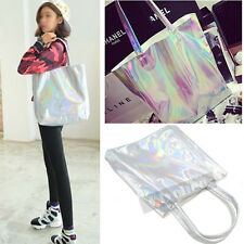 Women Holographic Metallic Silver Shopping Bag Shoulder Tote Handbag Gammaray