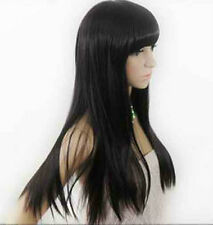 USJF256  2012 charming Long Black vogue Straight hair Wig wigs for women