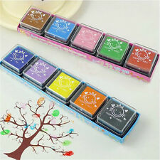 10Colors/set DIY Craft Foam Ink Stamp Pad School Fingerpaint Fingerprint