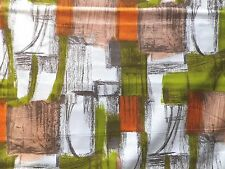 Vintage 1950's Cotton Interiors Fabric Green Orange Abstract Paint Stroke Design