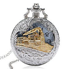 New Silver Gold Steam Train Locomotive Quartz Pocket Watch Oil Full Hunter Chain