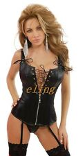 Ladies Sexy Lingerie Black PVC FAUX LEATHER Basque Corset Club Fancy Dress 9258