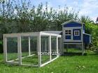 Chicken Coop LARGE Somerzby Blue MANSION and RUN Rabbit Hutch Cat Enclosure cage