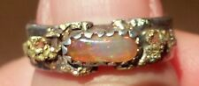 ring gold nugget opal sterling silver handcrafted size 3-1/2  wide band natural