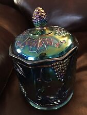 Vintage Blue Carnival Glass Candy Biscuit Jar
