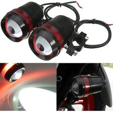 Pair 12V 30W Motorcycle U3 LED Driving Fog Spot Headlight Red Angel Eye Lamp