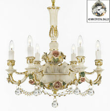Authentic Capodimonte Porcelain Chandelier Made in Italy w/ Crystal Balls!
